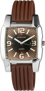Excellanc-Herrenuhr-Braun-Silber-Analog-Metall-Silikon-Armbanduhr-X225727000008