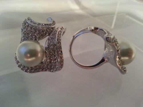 "Preissturz Couture Ring /""Kristall Perle /"" Messing silber rhod Neu"