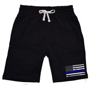 e86e81d562b527 Mens Thin Blue Line USA Police Flag Fleece shorts sweatpants Jogger ...