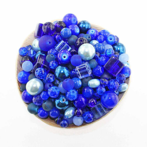 BMX026 Glass Bead Mix Assorted 100 Blue Color Combination 6mm to 12mm