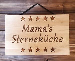 Kueche-Mamas-Sternekueche-Schild-persoenliche-Gravur-Wunschname-Buche-massiv