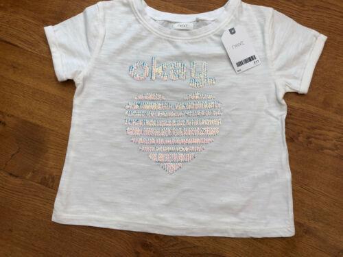 NEXT Girls 100/% Cotton White Blue Sequinned /'Heart/' T-Shirt BNWT