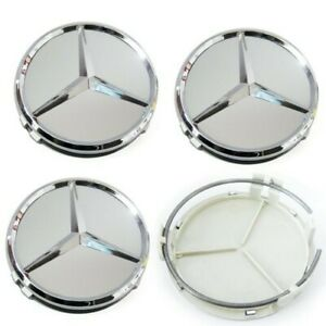 4 X Mercedes Benz 75mm Centre Wheel Caps SILVER/CHROME Brand New