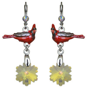 Kirks-Folly-Snowflake-Cardinal-Leverback-Earrings-Silvertone