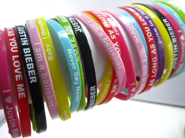 24 pieces Justin Bieber JB silicone bands bracelets mixed colours