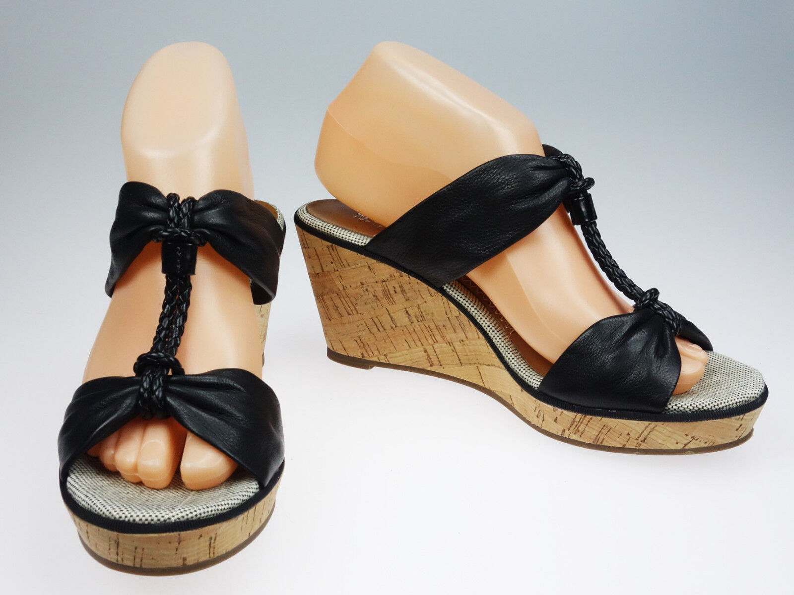 7.5M Sperry Top Sider Shoreham Black Leather Cork Wedge Sandal