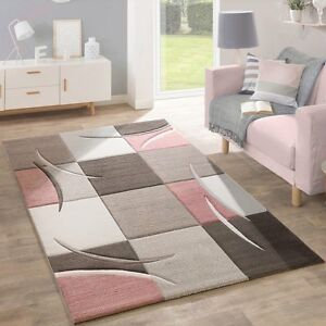 Details About Living Room Rug Brown Beige Dusty Pink Geometric Checked Carpet Mat Small Large
