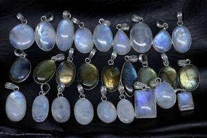 Beautiful-Sale-Natural-Moonstone-amp-Labradorite-Stone-Silver-Plated-Bezel-Pendant