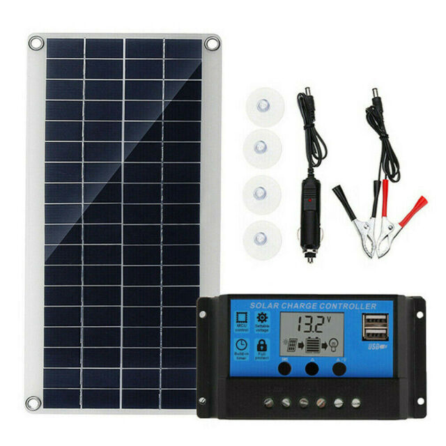 20W Solar Panel kit 12V battery Charge w/ Controller Caravan Boat Home Camp RV
