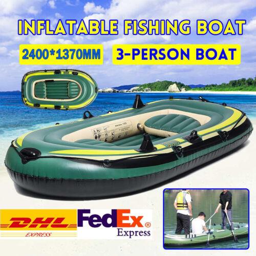 PVC Inflatable 3 Person Boat Fishing Boat Kayak Canoe Rowing Air Boat Drifting