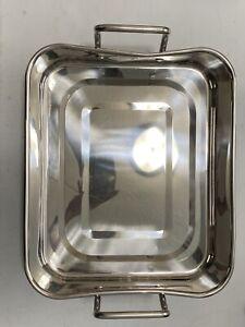 Martha Stewart Collection Open Rectangular Roaster with Stainless Steel Handles