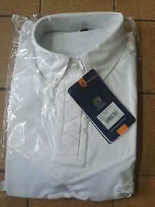 Aubrion long Sleeve Tie Show Shirt UK 14 16 large white hunting jumping