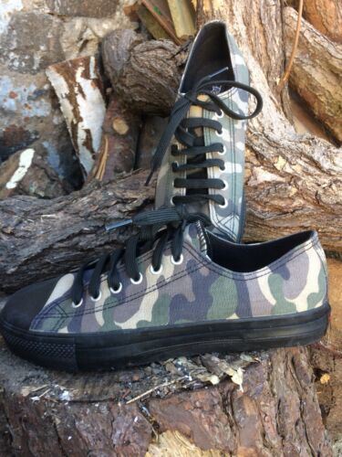 en 9 Deviant camouflage Camoflage Demonia basses Baskets toile taille ZqS1FPnwx