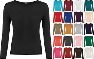 New-Womens-Long-Sleeve-Round-Neck-Plain-Basic-Ladies-Stretch-T-Shirt-Top-8-14