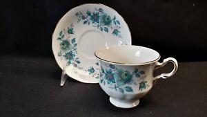 Queen-Anne-England-Patt-No-8500-Blue-Teal-Floral-Cup-amp-Saucer