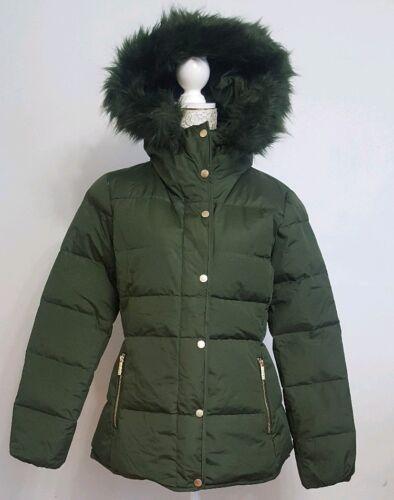 Elle Uk Khaki Jacket Dusky Vert 10 Femme Manteau S Down Puffer Feathers Taille rrS4q