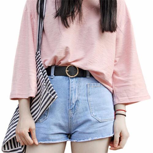 Mode femmes ceintures cuir rond broche boucle taille ceinture