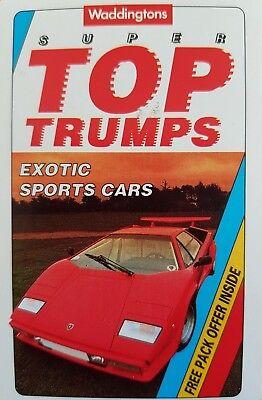 Various Models Top Trumps Single Card Platnik Super Sports Cars FB3