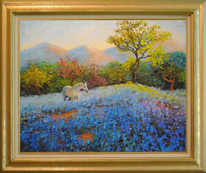 """White horse and bluebonnets. Original framed oil on canvas 16""""x20"""" painting"""