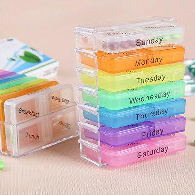 Portable 7-Day Pill Tablet Box Weekly Medicine Storage Medication Organizer Case