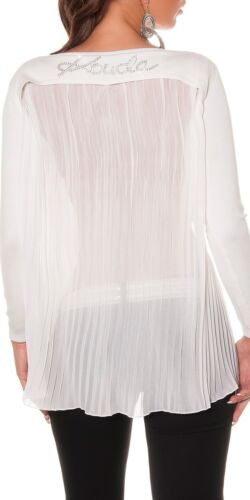 Stunning Long Pullover with Chiffon on Back and Rhinestones 4 colors!