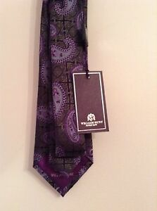 BNWT-100-Auth-WILLIAM-HUNT-SAVILE-ROW-Jacquard-Luxury-Tie-100-SILK-RRP-95