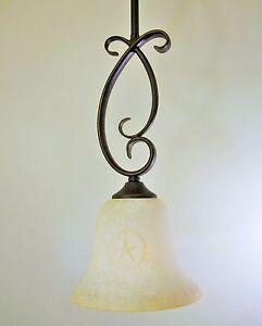 Bronze Patina Finish Vaxcel Lighting Mini Pendant Western Texas Star Glass Ebay