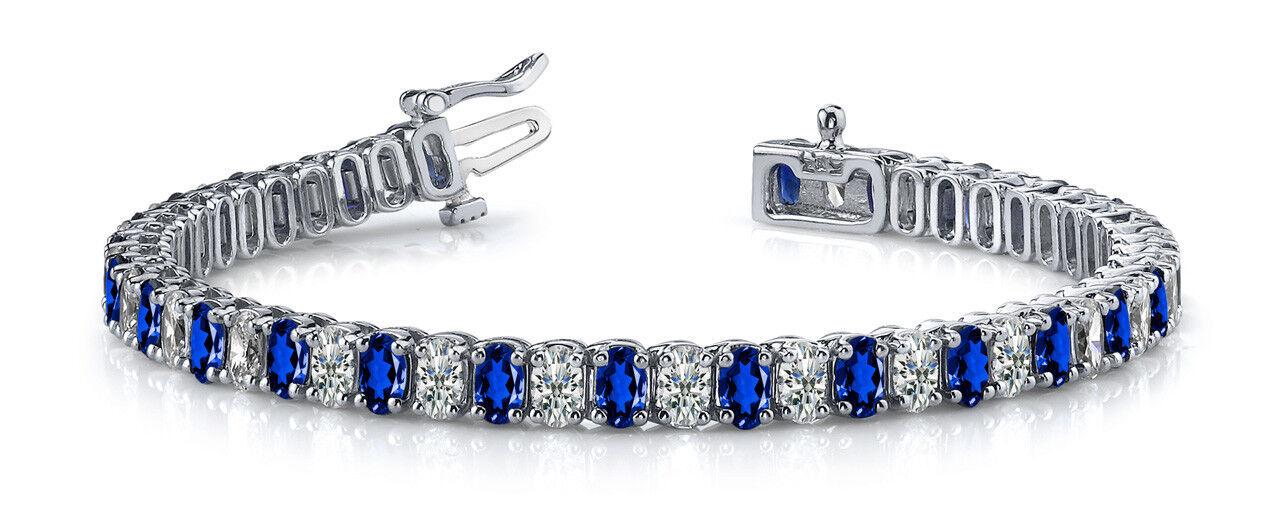 5ct Oval Cut bluee Sapphire Diamond Women Tennis Bracelet 14k White gold Finish