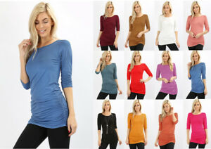 S-XL-Women-039-s-Ruched-3-4-Sleeve-Long-Tunic-T-Shirt-Top-Stretch-Fitted-Basic-Solid