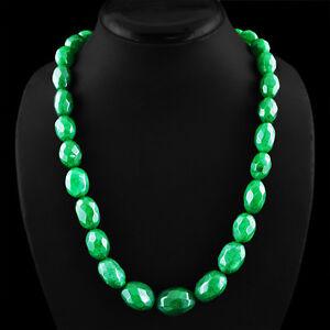 Genuino-583-30-CTS-tierra-minada-Oval-corte-Rico-Verde-Esmeralda-granos-collar-cadena