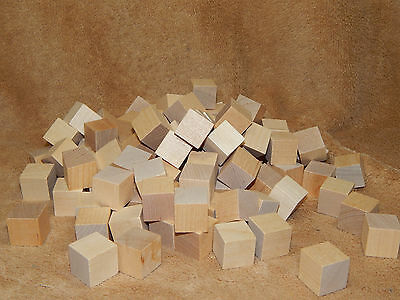 "100 1/"" Wooden Blocks Good Wood Cubes Squares Arts Crafts Unfinished Bagged New"