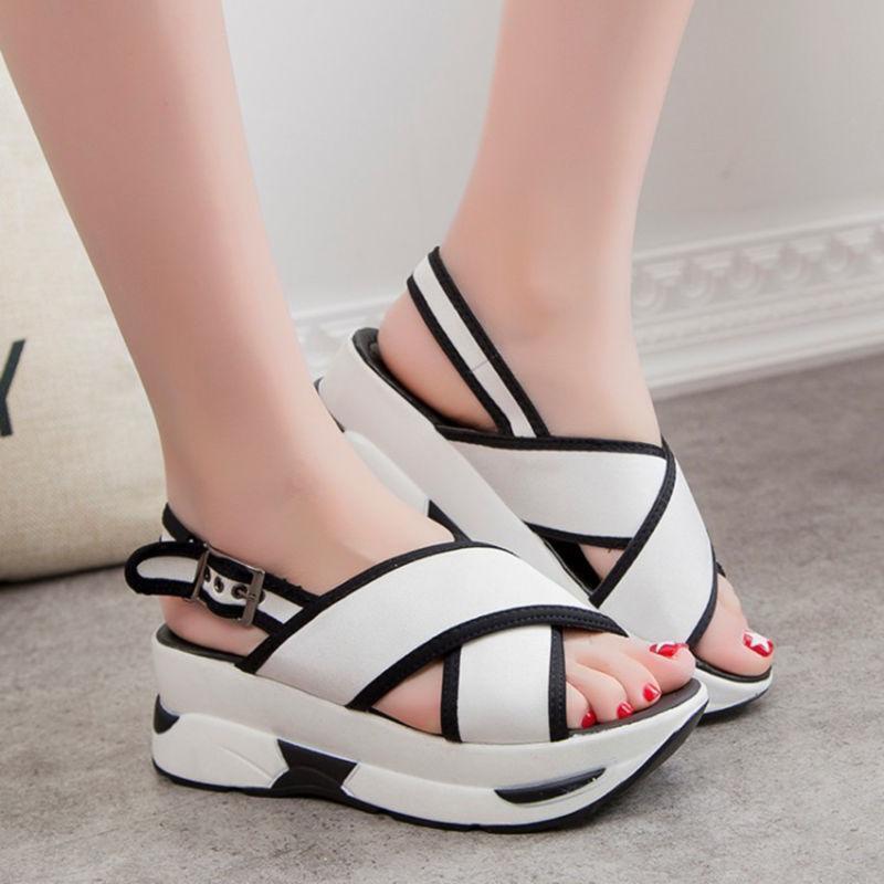 Women Sports Sandals Toe Open Toe Sandals Wedge Platform Fashion Shoes Slingback Beach Vogue 594ff1