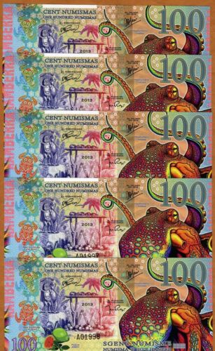 UNC /> Octopus POLYMER 2013 2014 LOT Kamberra 5 x 100 Numismas
