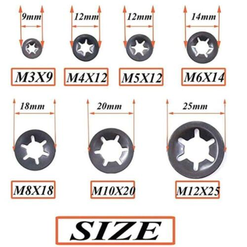 260PCS//Set Metal Starlock Push-on Locking Washer Fastener Star Nut Assorted Kit
