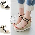 Summer Womens Sandals Suede Shoes Ankle Strap Wedge Platform Beach High Heels