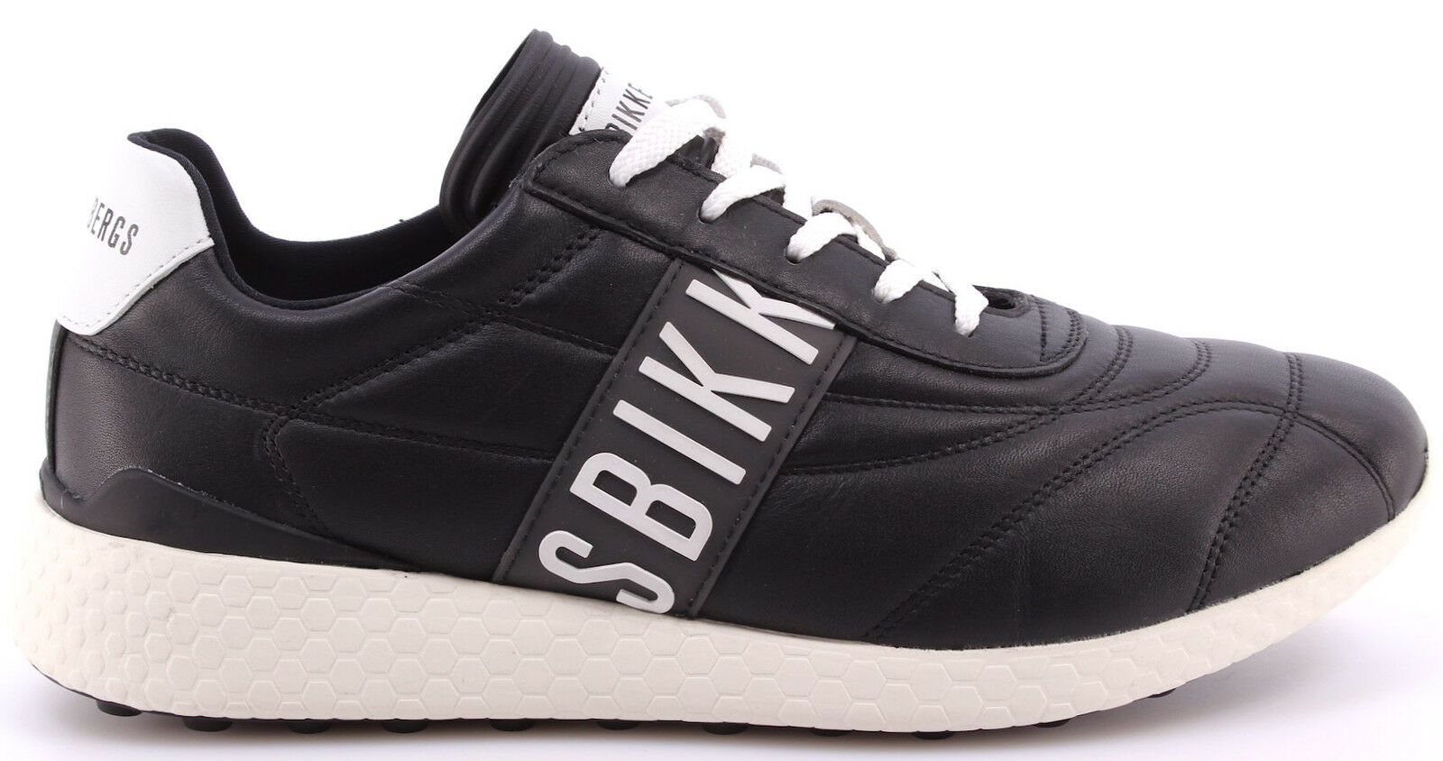 Zapatos caballero zapatos zapatillas Bikkembergs BKE 108711 strik él 895 Leather negro blanco