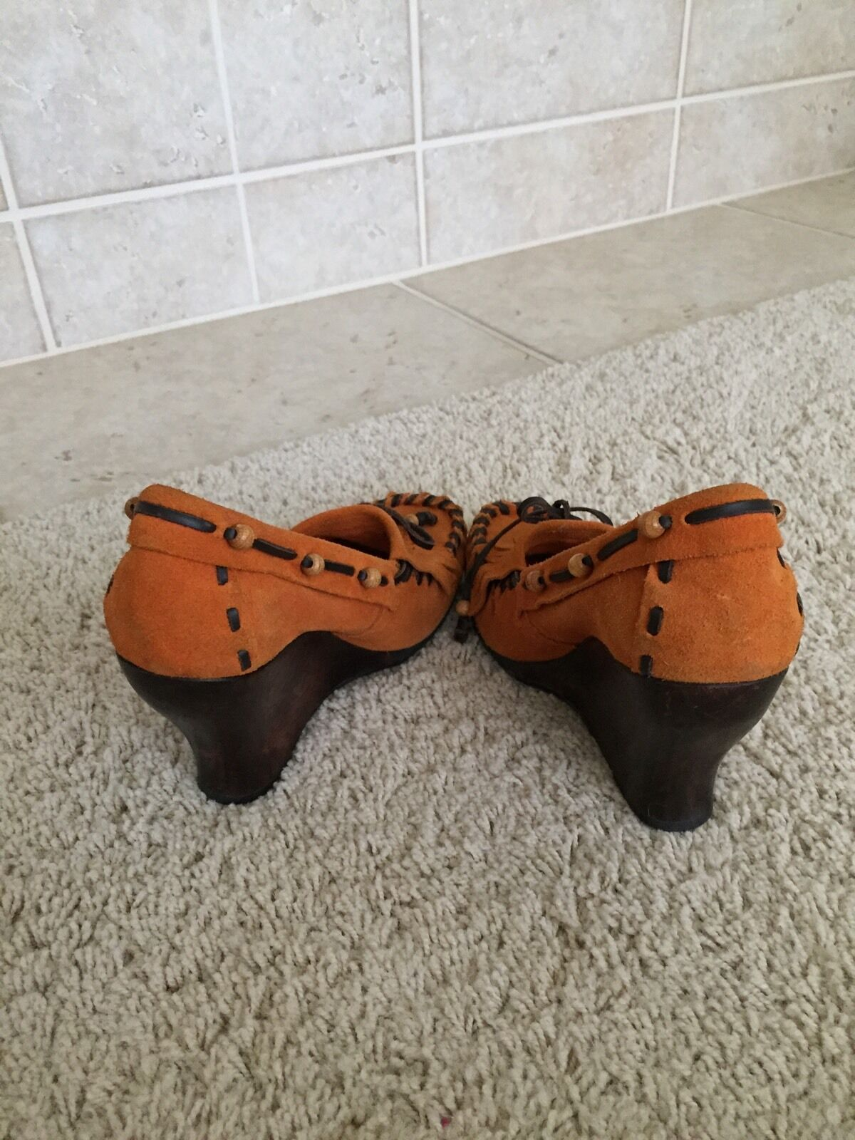 SAM EDELMAN ANGELINA WEDGE HEELS HEELS HEELS MOCCASIN Schuhe TASSEL BEADED BOW Damenschuhe 8.5 TAN 08f019