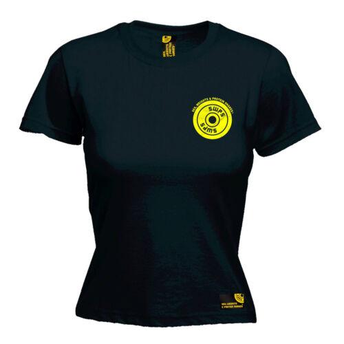 PIASTRA di peso Giallo Taschino Da Donna swps T-Shirt Regalo di compleanno Palestra Di Formazione