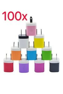 100x Color 1A USB Power Adapter AC Home Wall Charger US Plug Fits iPhone 5 5S 6