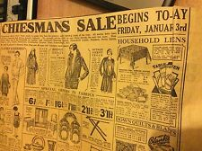 k1-2 ephemera january 1930 folded advert kent chiesmans sale