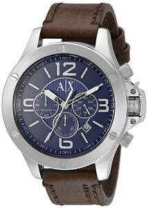 ac1910e80e65d Armani Exchange AX1505 Wellworn Blue Dial Leather Strap Chronograph ...