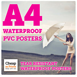 Details about A4 Waterproof Poster Printing | Tear Resistant Outdoor PVC |  Wipe Clean Posters
