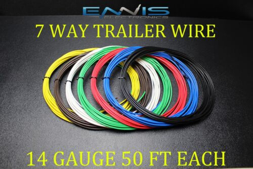 14 GAUGE WIRE ENNIS ELECTRONICS 7 WAY TRAILER LIGHT 50 FT EACH PRIMARY CABLE