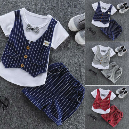 Toddler Baby Kids Boys Bow Vest T shirt Tops Plaid Shorts Set Outfits Clothes US