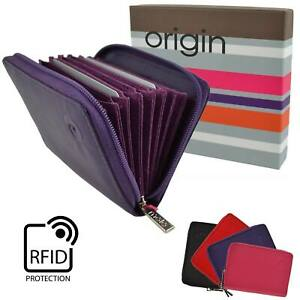 Ladies Mens Leather RFID Protection Credit Card Purse by Mala; Origin Collection