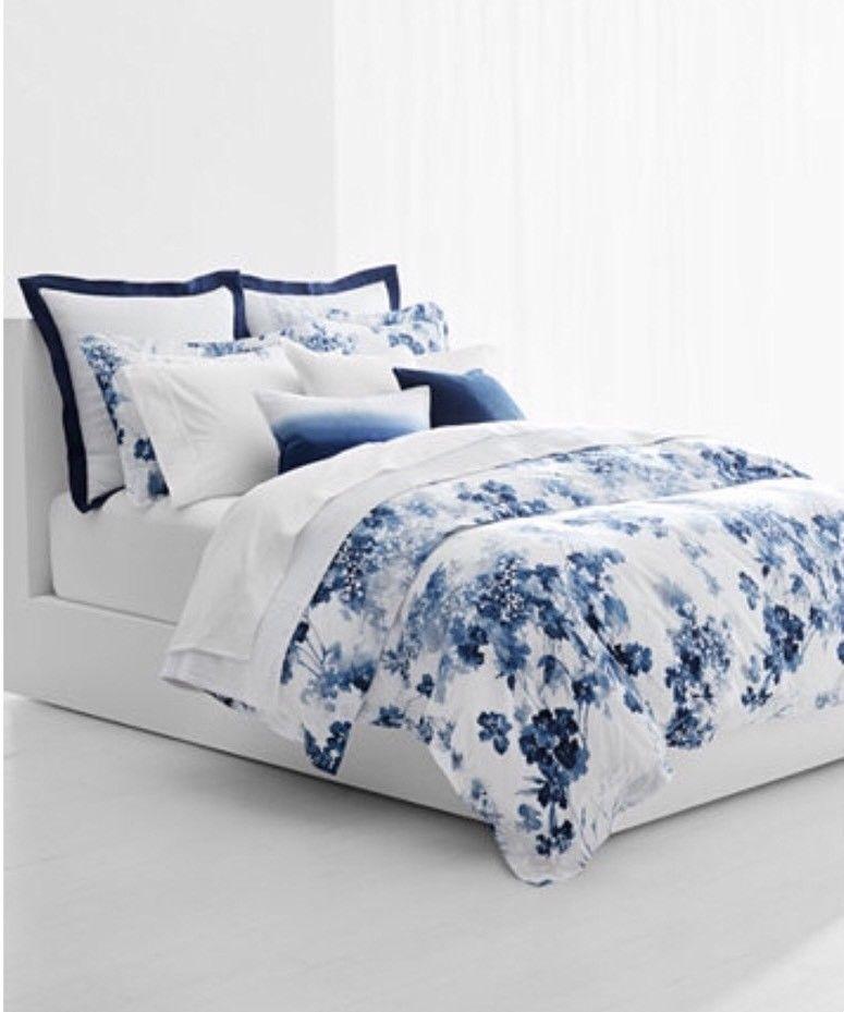 Ralph Lauren Home Flora KING Duvet Cover and Shams Set blueee Floral Cotton  385