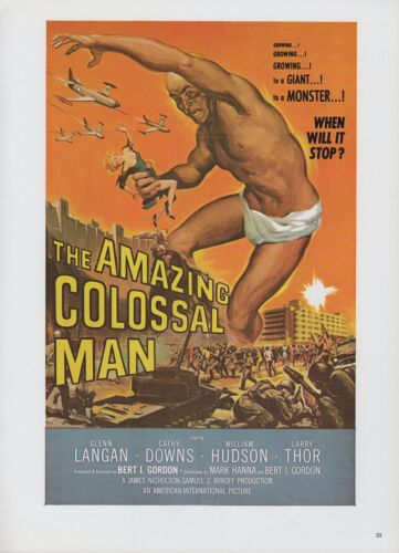 """1977 Vintage /""""THE AMAZING COLOSSAL MAN/"""" CLASSIC MINI POSTER Art Plate Lithograph"""