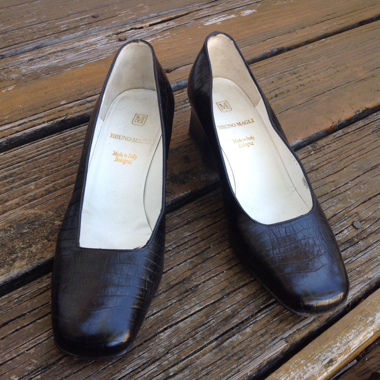 Bruno Magli Negro de cuero en relieve relieve relieve en Bombas Zapatos para mujer EU 36.5 Tacones Altos Italia  Felices compras