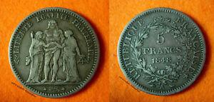 FRANCIA-FRANCE-5-FRANCHI-FRANCS-ERCOLE-HERCULES-1848-A-PARIS-ARGENTO