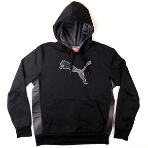 Puma-Hoodie-Mens-Size-Medium-Pull-Over-Warm-Cell-Black-Hooded-Sweatshirt